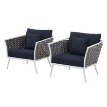 Stance Armchair Outdoor Patio Aluminum Set of 2, Fabric Aluminium, White Navy 15329