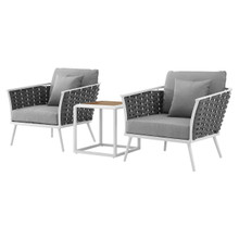 Stance 3 Piece Outdoor Patio Aluminum Sectional Sofa Set, Fabric Aluminium, White Grey Gray 15330