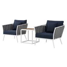 Stance 3 Piece Outdoor Patio Aluminum Sectional Sofa Set, Fabric Aluminium, White Navy 15331