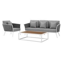 Stance 3 Piece Outdoor Patio Aluminum Sectional Sofa Set, Fabric Aluminium, White Grey Gray 15336