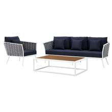 Stance 3 Piece Outdoor Patio Aluminum Sectional Sofa Set, Fabric Aluminium, White Navy 15337