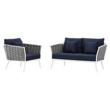 Stance 2 Piece Outdoor Patio Aluminum Sectional Sofa Set, Fabric Aluminium, White Navy 15341