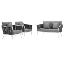 Stance 3 Piece Outdoor Patio Aluminum Sectional Sofa Set, Fabric Aluminium, White Grey Gray 15342
