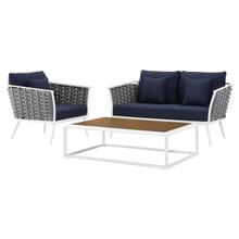 Stance 3 Piece Outdoor Patio Aluminum Sectional Sofa Set, Fabric Aluminium, White Navy 15345