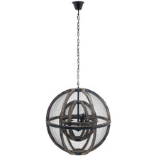 Gravitate Globe Rustic Oak Wood Pendant Light Chandelier, Wood, Natural Dark Brown 15364