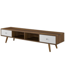 "Transmit 70"" Media Console Wood TV Stand, Wood, Natural Brown White 15376"