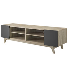 "Tread 70"" Media Console TV Stand, Wood, Grey Gray Natural 15380"