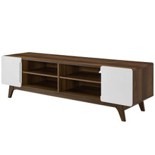 "Tread 70"" Media Console TV Stand, Wood, Natural Brown White 15381"
