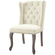 Apprise French Vintage Dining Performance Velvet Side Chair, Velvet Fabric Wood, Ivory White 15398