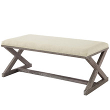 Province Vintage French X-Brace Upholstered Fabric Bench, Fabric Wood, Beige 15412