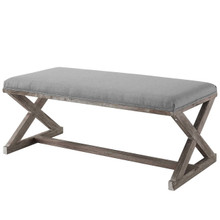 Province Vintage French X-Brace Upholstered Fabric Bench, Fabric Wood, Light Grey Gray 15414
