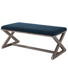 Province Vintage French X-Brace Upholstered Fabric Bench, Fabric Wood, Navy Blue 15415