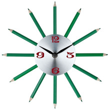 Pencil Wall Clock in Silver Red Black Green