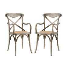 Gear Dining Armchair Set of 2, Wood, Grey Gray 15443