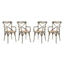 Gear Dining Armchair Set of 4, Wood, Grey Gray 15445