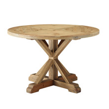 """Stitch 47"""" Round Pine Wood Dining Table, Wood, Brown 15458"""
