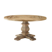 "Column 59"" Round Pine Wood Dining Table, Wood, Brown 15459"