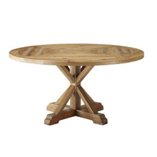 "Column 59"" Round Pine Wood Dining Table, Wood, Brown 15460"