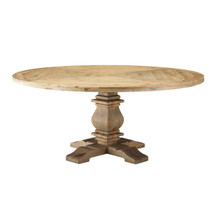 "Column 71"" Round Pine Wood Dining Table, Wood, Brown 15461"