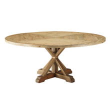 "Column 71"" Round Pine Wood Dining Table, Wood, Brown 15462"