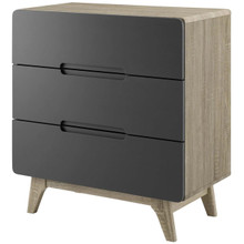 Origin Three-Drawer Chest or Stand, Wood, Grey Gray Natural 15570