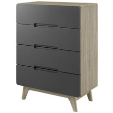 Origin Four-Drawer Chest or Stand, Wood, Grey Gray Natural 15572