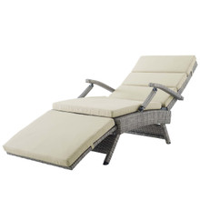Envisage Chaise Outdoor Patio Wicker Rattan Lounge Chair, Rattan Wicker, Light Gray Beige 15663
