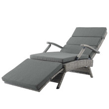 Envisage Chaise Outdoor Patio Wicker Rattan Lounge Chair, Rattan Wicker, Dark Grey Gray 15664