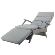 Envisage Chaise Outdoor Patio Wicker Rattan Lounge Chair, Rattan Wicker, Grey Gray 15665