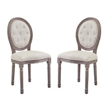 Arise Vintage French Upholstered Fabric Dining Side Chair Set of 2, Fabric Wood, Beige 15687