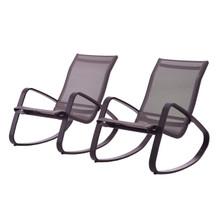 Traveler Rocking Lounge Chair Outdoor Patio Mesh Sling Set of 2, Aluminum Metal Steel, Black 15688