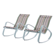 Traveler Rocking Lounge Chair Outdoor Patio Mesh Sling Set of 2, Aluminum Metal Steel, Green 15689