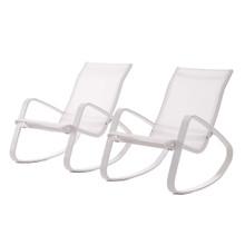 Traveler Rocking Lounge Chair Outdoor Patio Mesh Sling Set of 2, Aluminum Metal Steel, White 15690