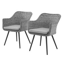 Endeavor Dining Armchair Outdoor Patio Wicker Rattan Set of 2, Rattan Wicker, Grey Gray 15691