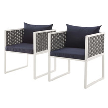 Stance Dining Armchair Outdoor Patio Aluminum Set of 2, Fabric Aluminium, White Navy 15693