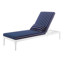 Perspective Cushion Outdoor Patio Chaise Lounge Chair, Fabric Metal Steel, White Navy 15705