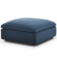 Commix Down Filled Overstuffed Ottoman, Fabric, Navy Blue 15706
