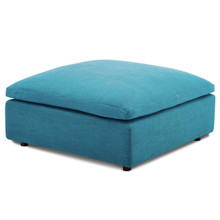 Commix Down Filled Overstuffed Ottoman, Fabric, Aqua Blue 15709