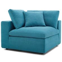 Commix Down Filled Overstuffed Corner Chair, Fabric, Aqua Blue 15714