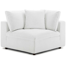 Commix Down Filled Overstuffed Corner Chair, Fabric, White 15715