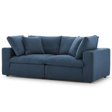 Commix Down Filled Overstuffed 2 Piece Sectional Sofa Set, Fabric, Navy Blue 15716