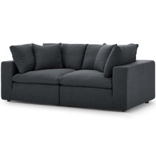 Commix Down Filled Overstuffed 2 Piece Sectional Sofa Set, Fabric, Grey Gray 15718