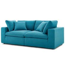 Commix Down Filled Overstuffed 2 Piece Sectional Sofa Set, Fabric, Aqua Blue 15719