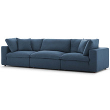 Commix Down Filled Overstuffed 3 Piece Sectional Sofa Set, Fabric, Navy Blue 15721