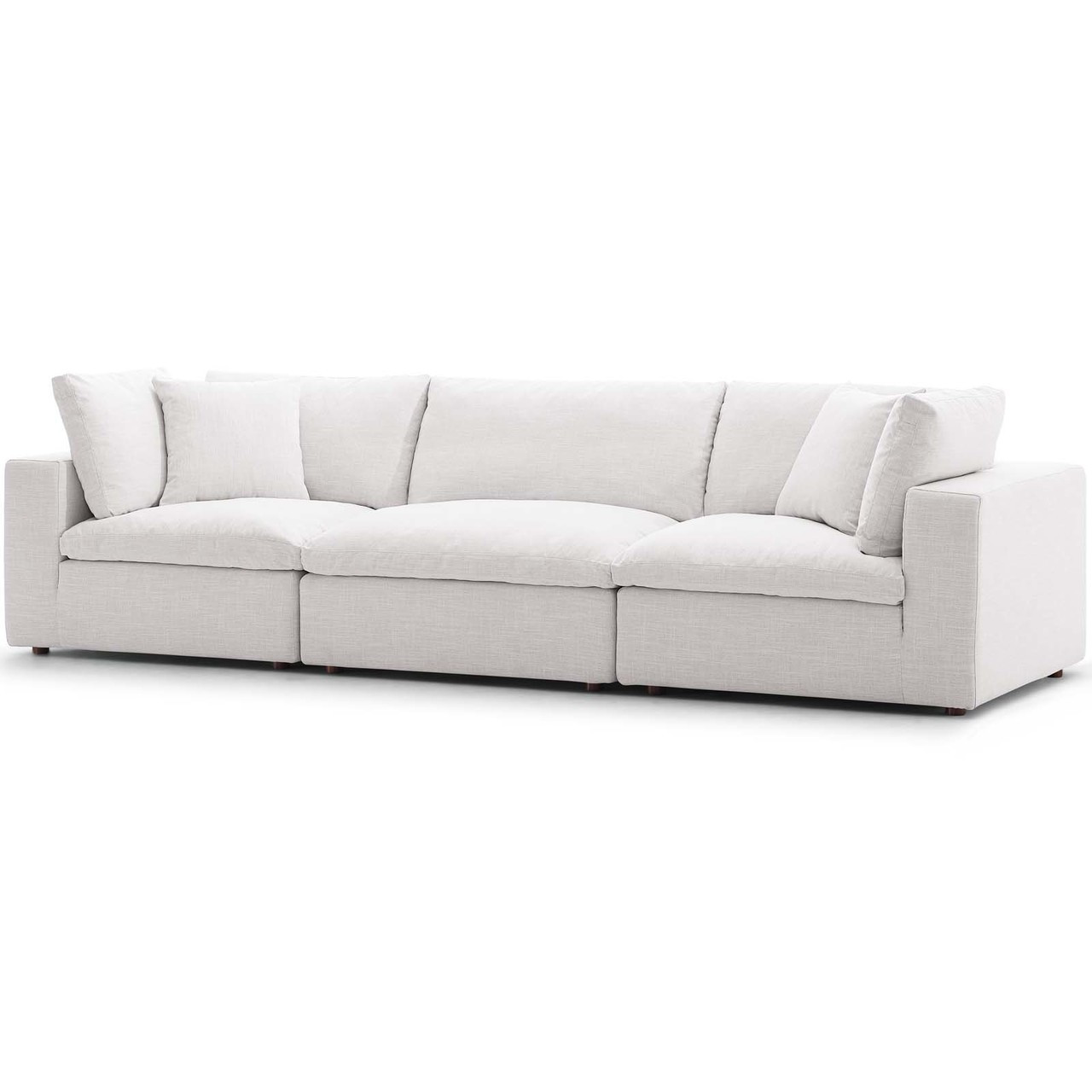 Commix Down Filled Overstuffed 3 Piece Sectional Sofa Set, Fabric, Beige  15722