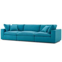 Commix Down Filled Overstuffed 3 Piece Sectional Sofa Set, Fabric, Aqua Blue 15724