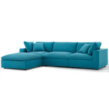 Commix Down Filled Overstuffed 4 Piece Sectional Sofa Set, Fabric, Aqua Blue 15729