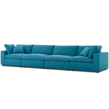 Commix Down Filled Overstuffed 4 Piece Sectional Sofa Set, Fabric, Aqua Blue 15734