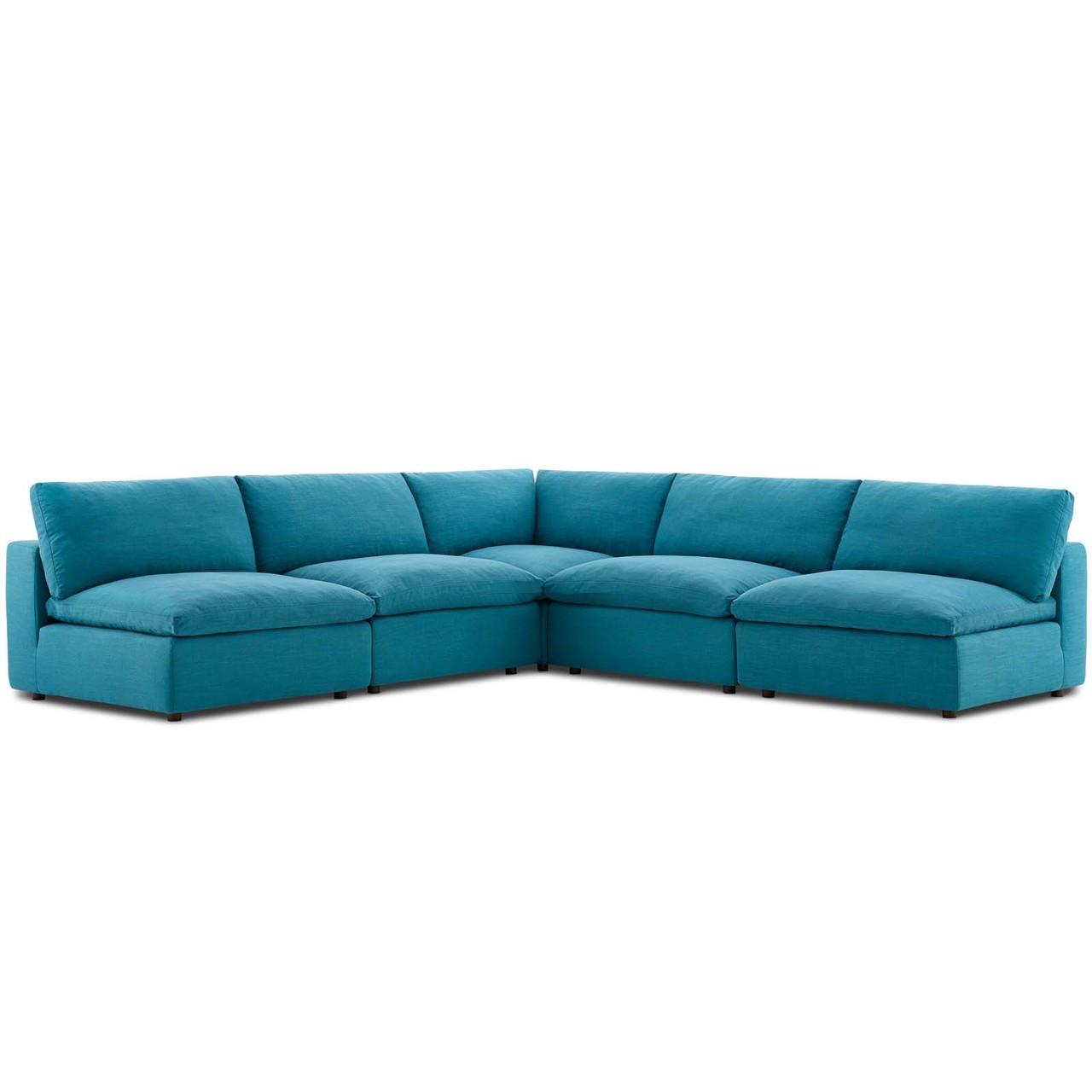 Commix Down Filled Overstuffed 5 Piece Sectional Sofa Set, Fabric, Aqua  Blue 15748