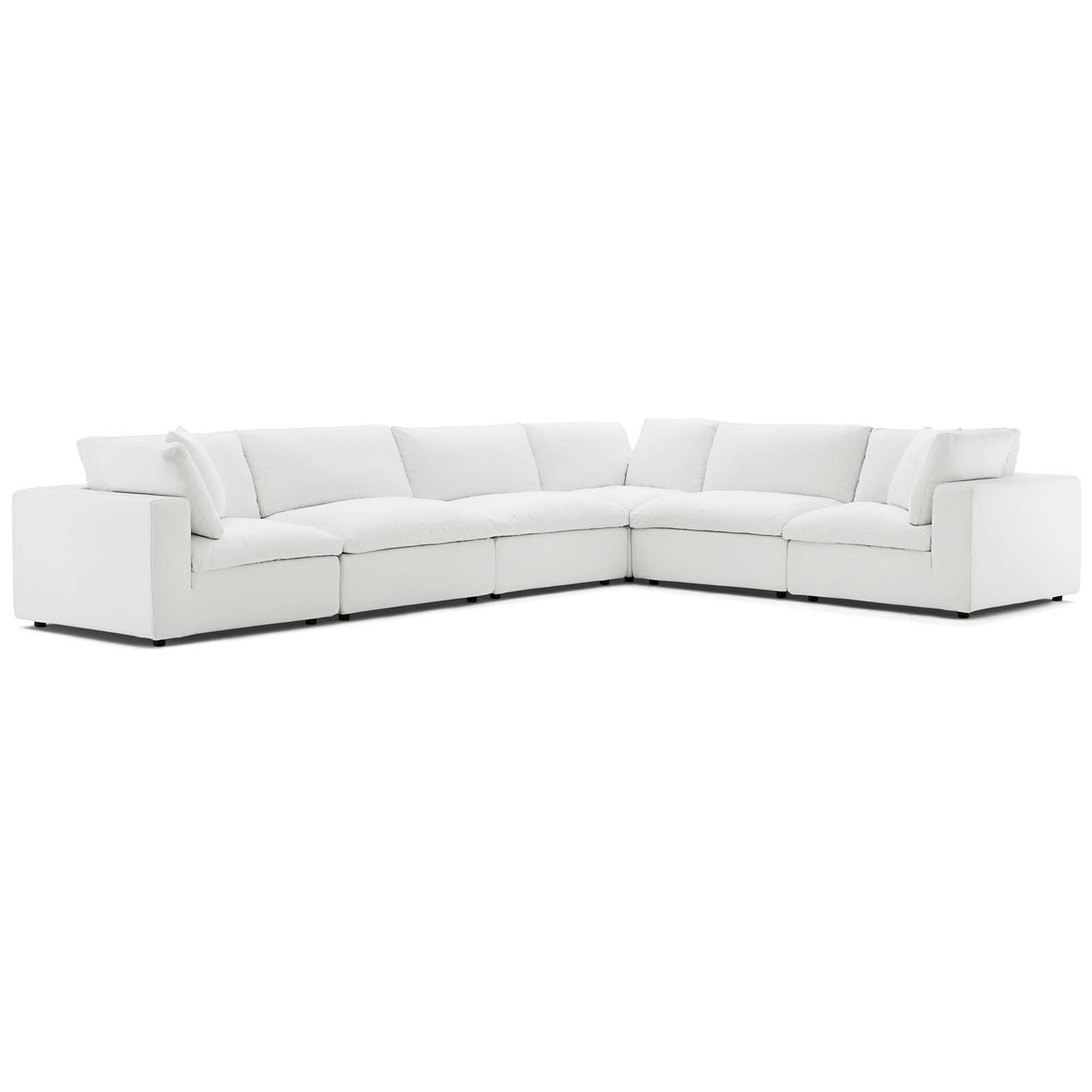 Commix Down Filled Overstuffed 6 Piece Sectional Sofa Set, Fabric, White  15753